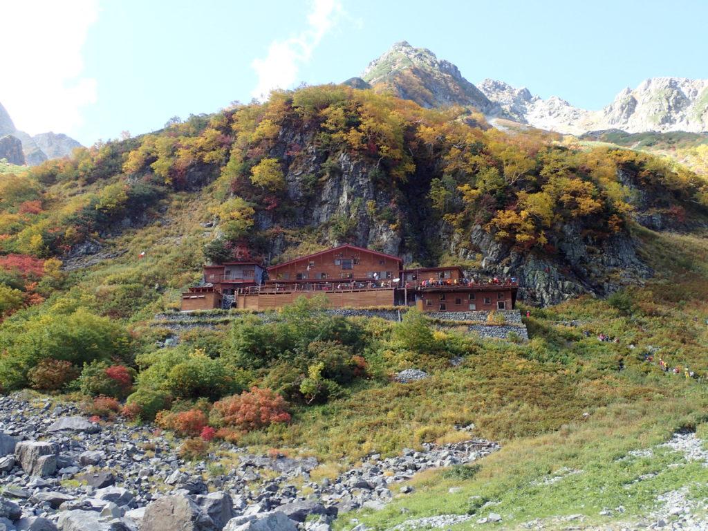 涸沢小屋と北穂高岳方面