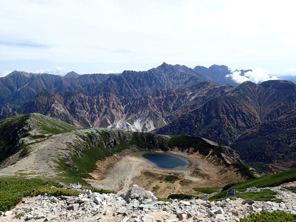 鷲羽岳山頂から見る鷲羽池と槍ヶ岳と穂高岳