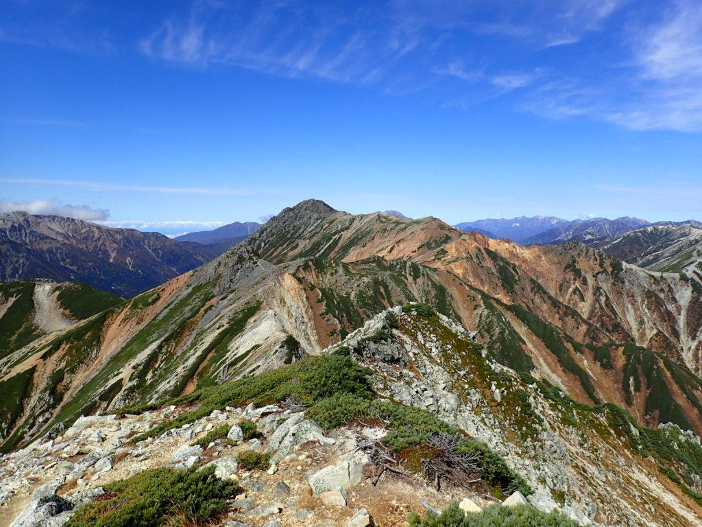 鷲羽岳から見る水晶岳