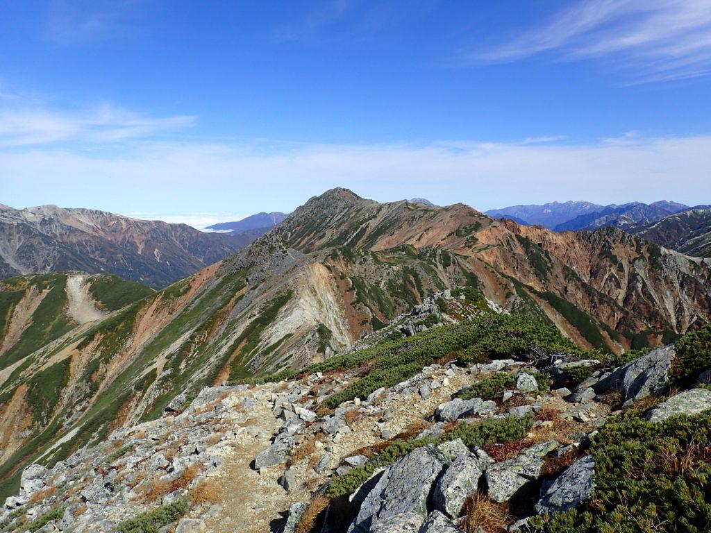 鷲羽岳方向から見る水晶岳