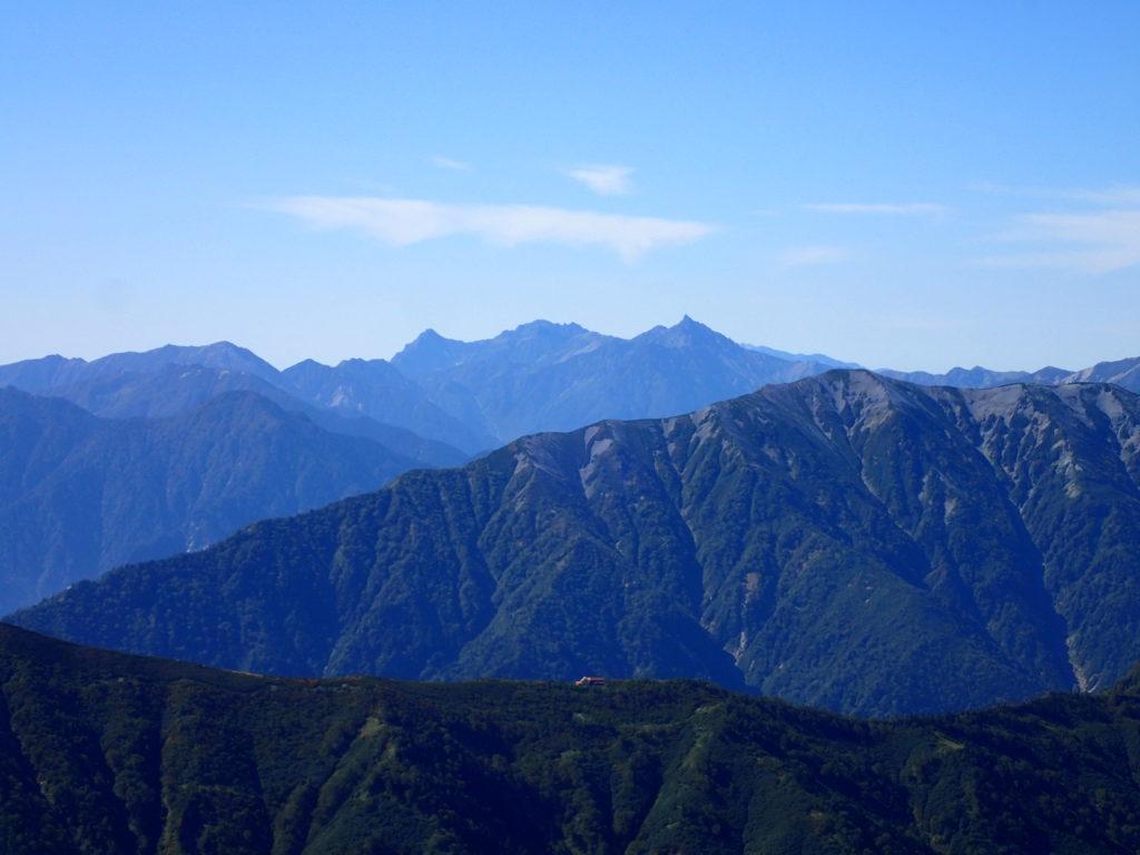 鹿島槍ヶ岳から見る槍穂高