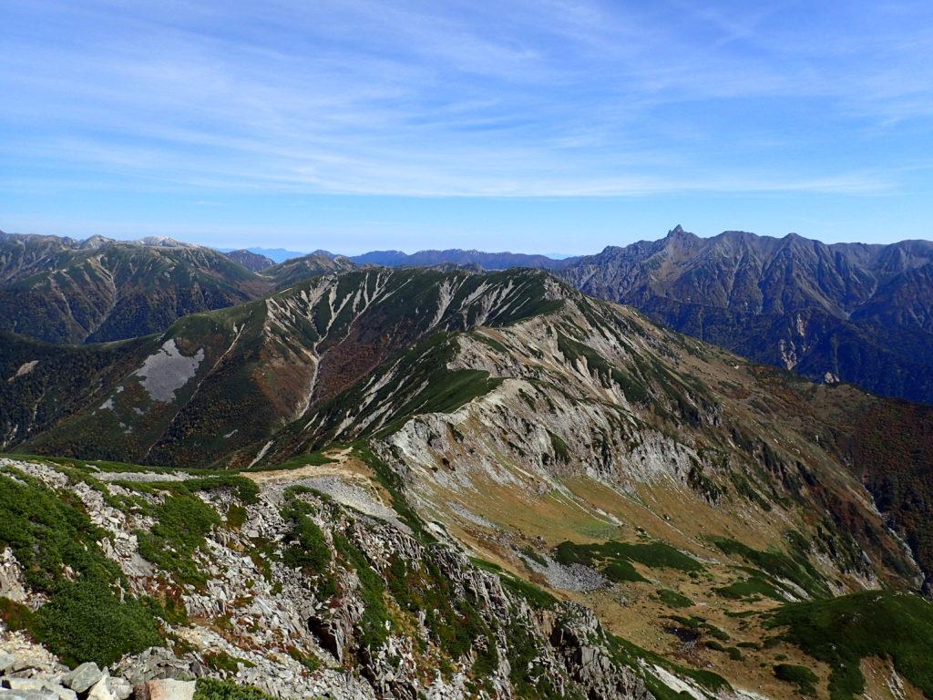 笠ヶ岳から見る弓折乗越方向
