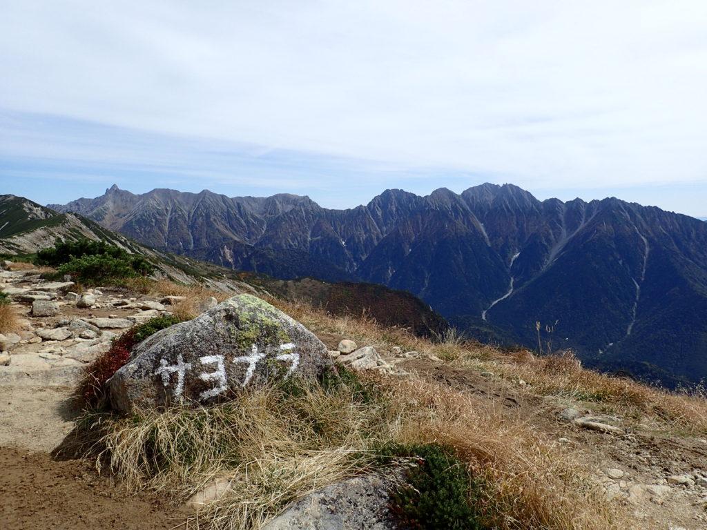 笠ヶ岳山荘テント場から見る槍穂高