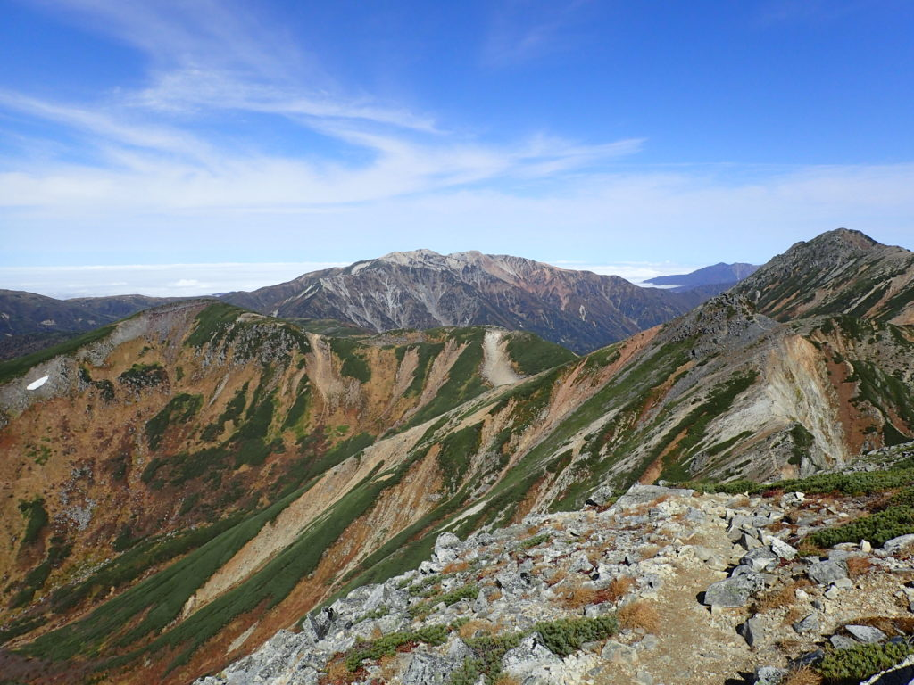 鷲羽岳方向から見る薬師岳