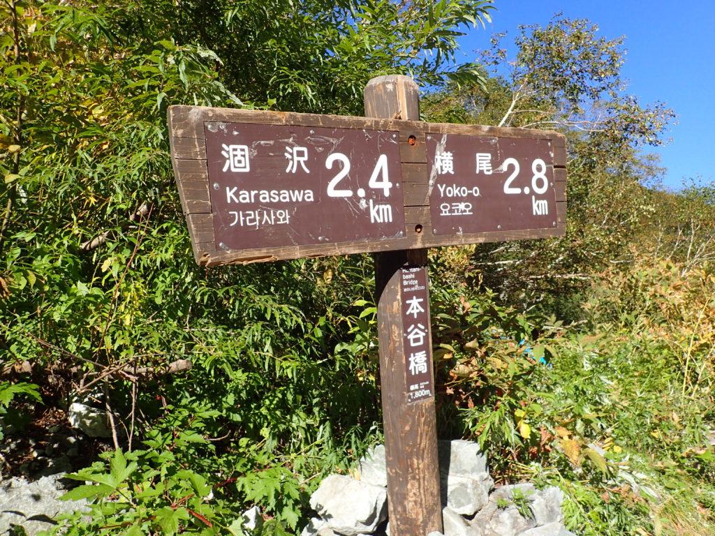 上高地の本谷橋の道標