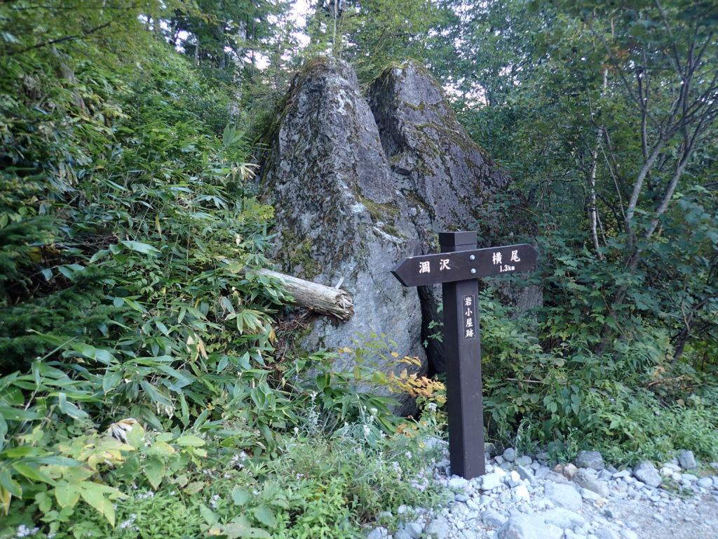 上高地の横尾近くの岩小屋跡