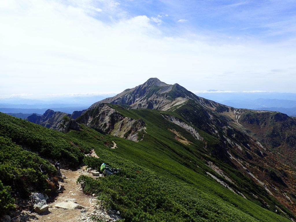 抜戸岳方面から見る笠ヶ岳