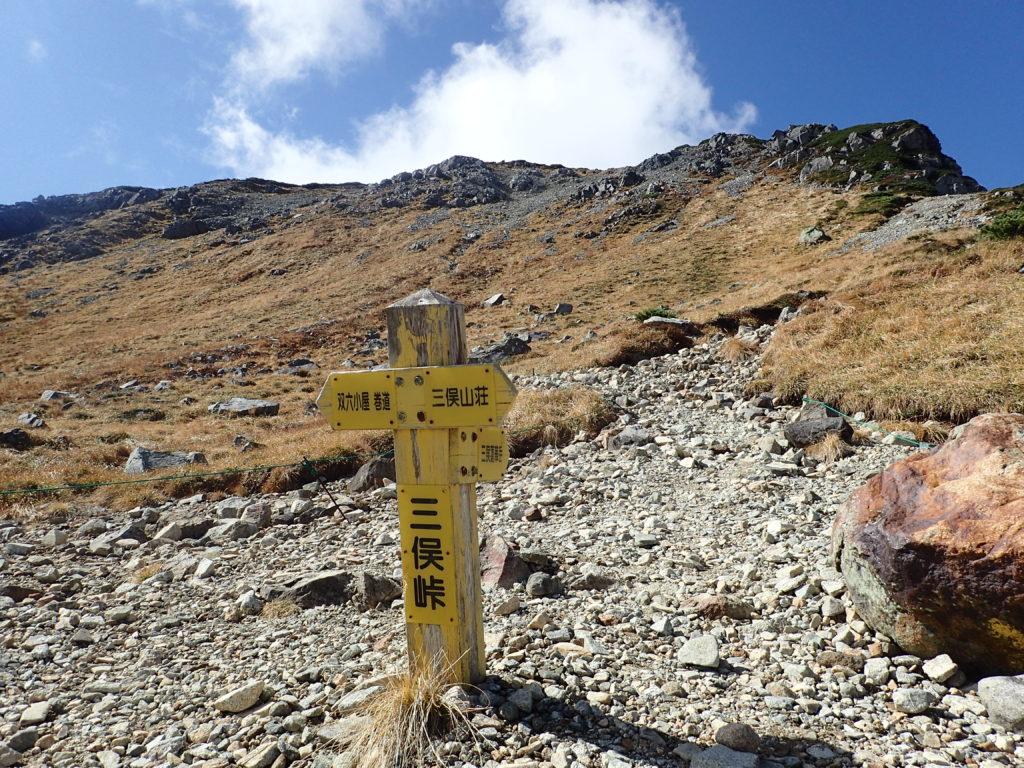 三俣峠の道標