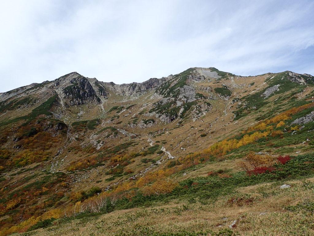 笠新道の杓子岳から見る笠ヶ岳に続く稜線