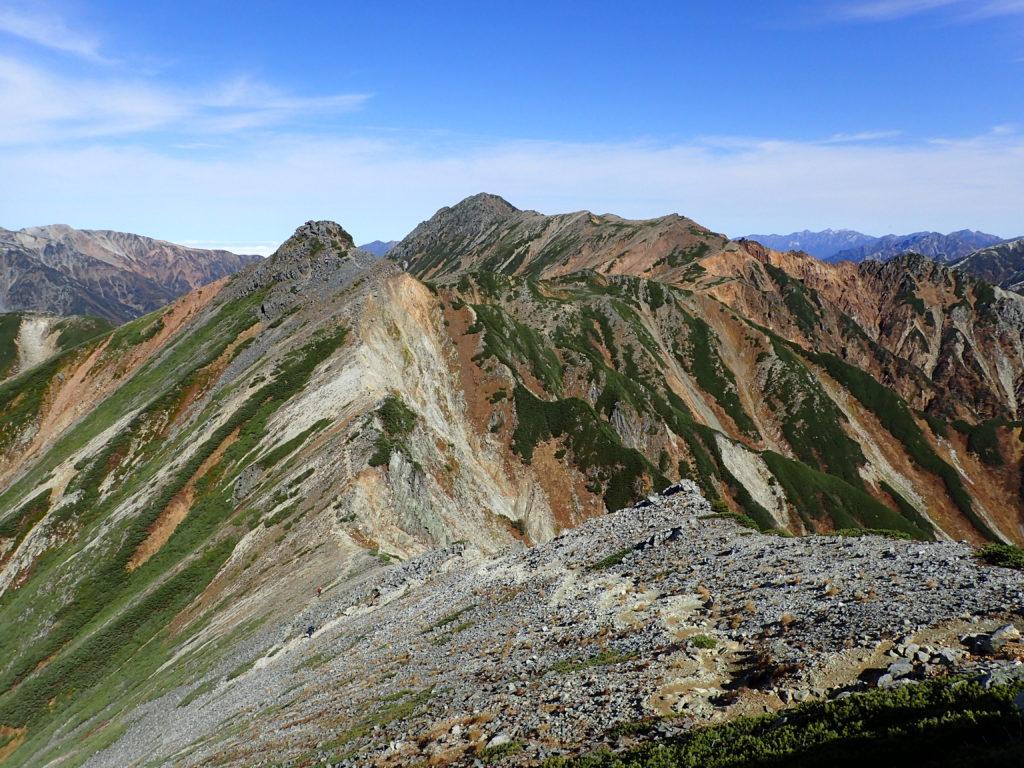鷲羽岳から見るワリモ岳と水晶岳