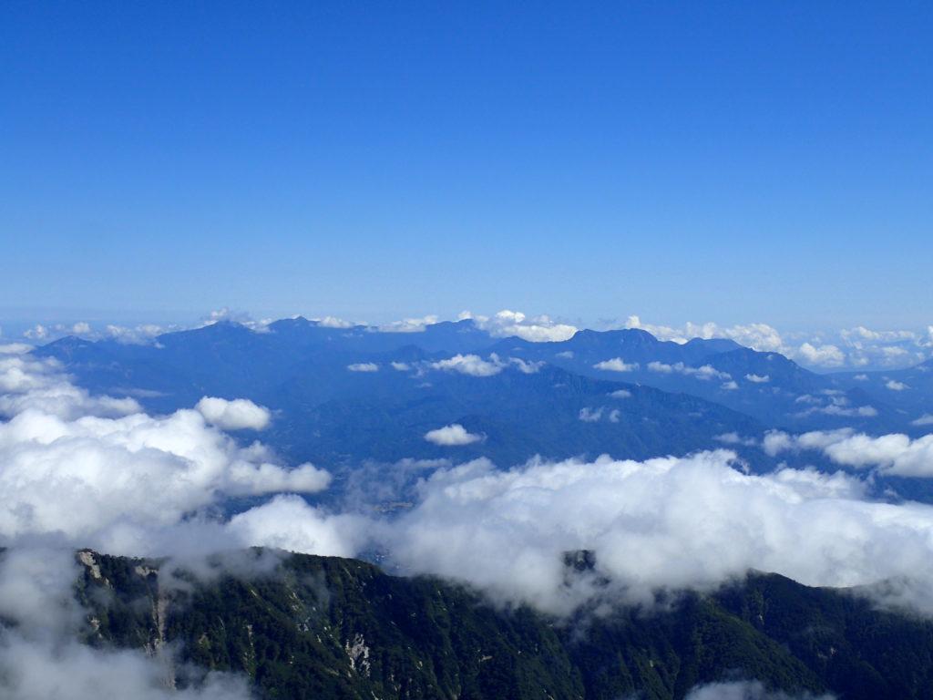 鹿島槍ヶ岳北峰からみる北信五岳