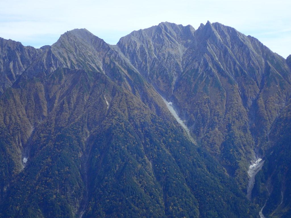 笠新道から見る穂高岳