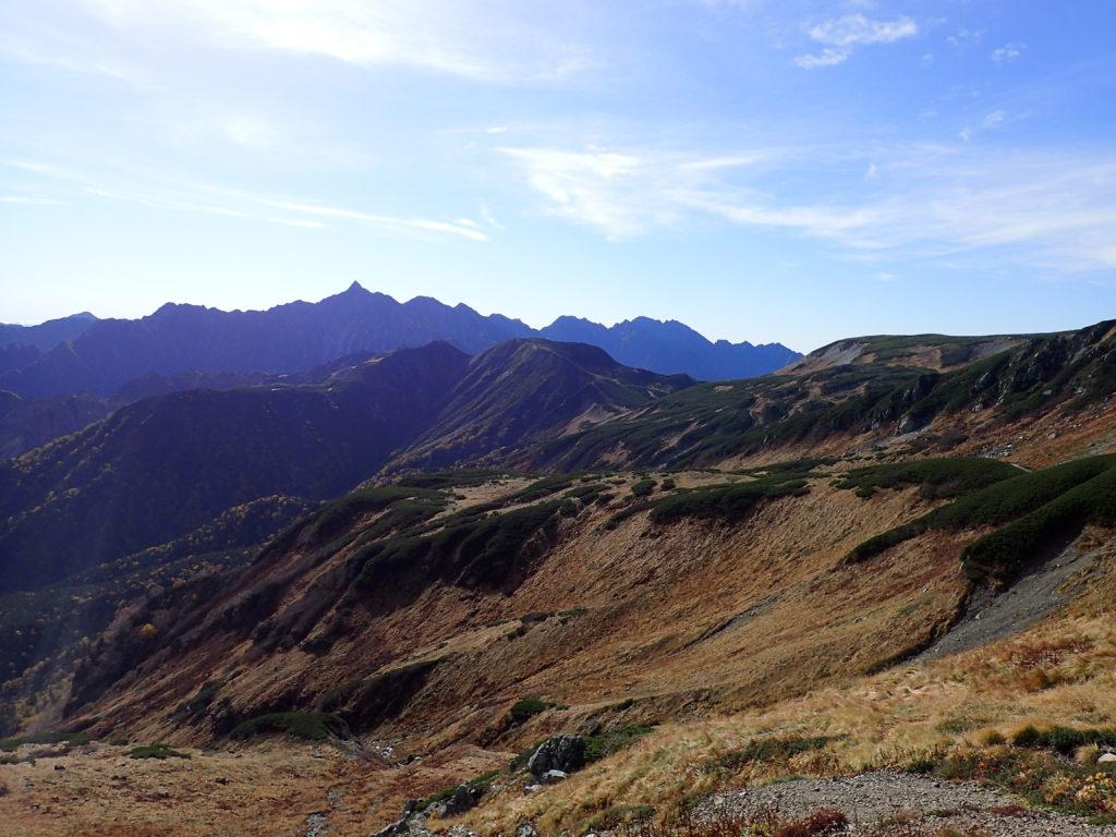 三俣蓮華岳方向から見る槍ヶ岳と穂高岳