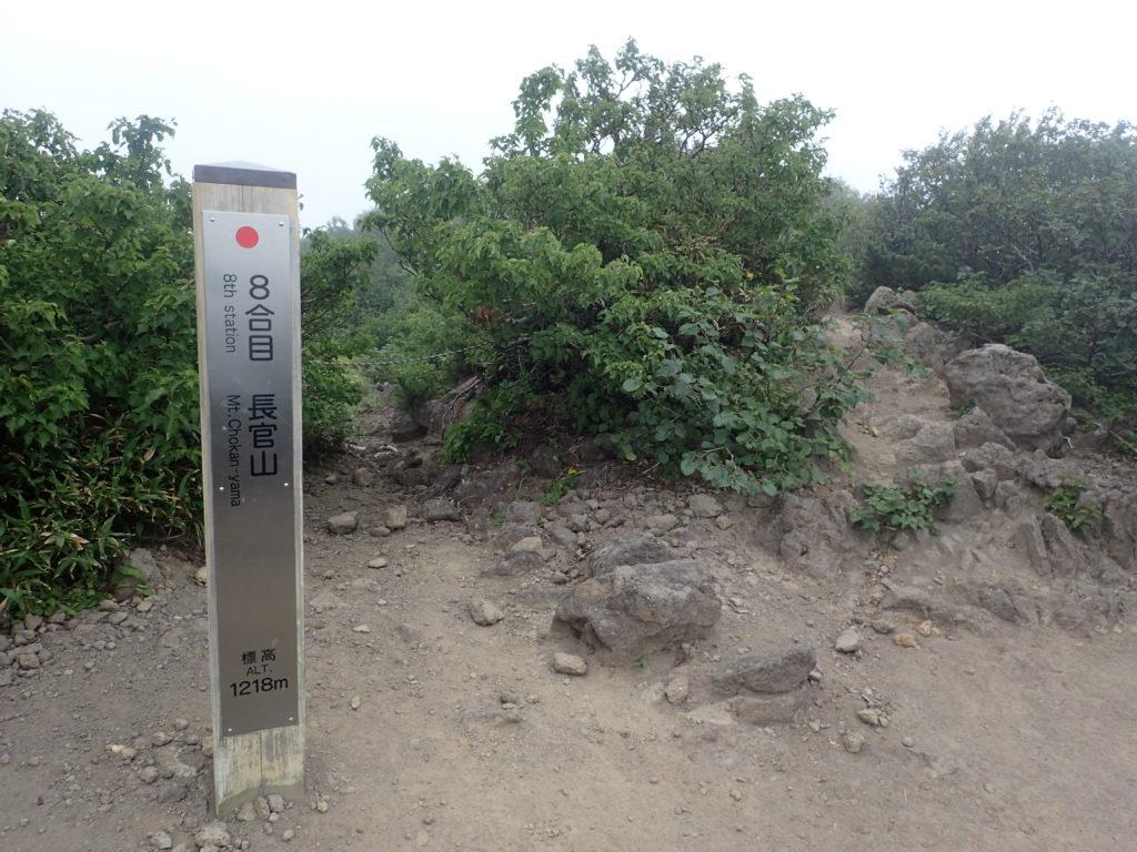 利尻山の鴛泊コース登山道の8合目長官山