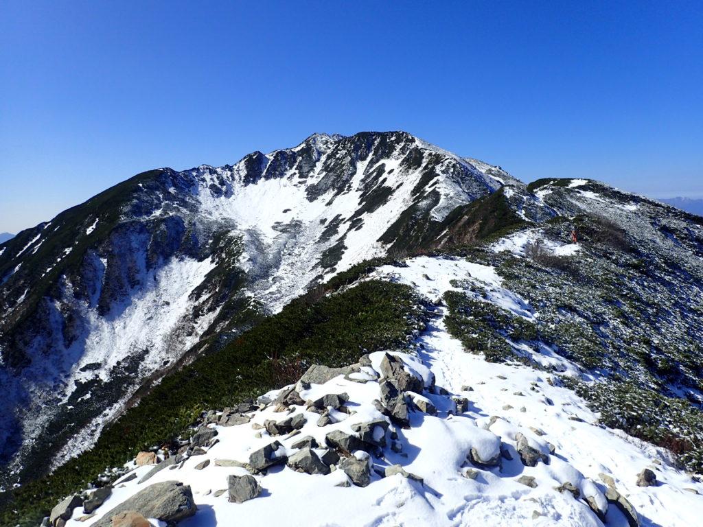 小仙丈ヶ岳方向から見る仙丈ヶ岳山頂と大仙丈沢カール
