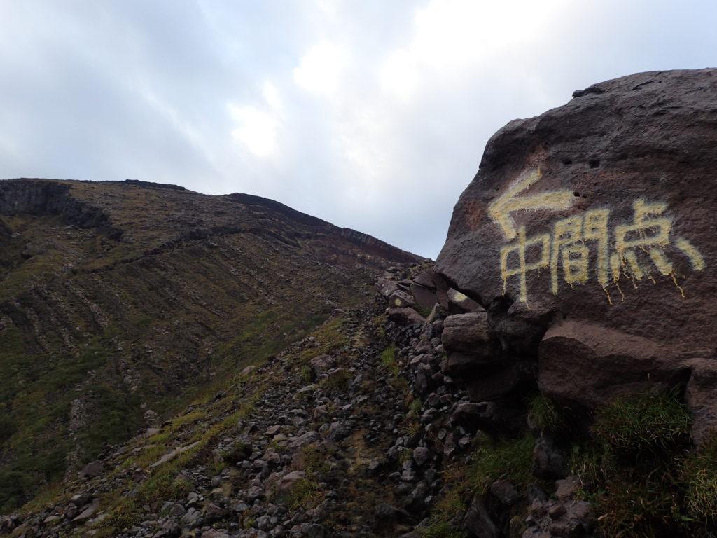阿蘇山の仙酔峡尾根登山道の中間点