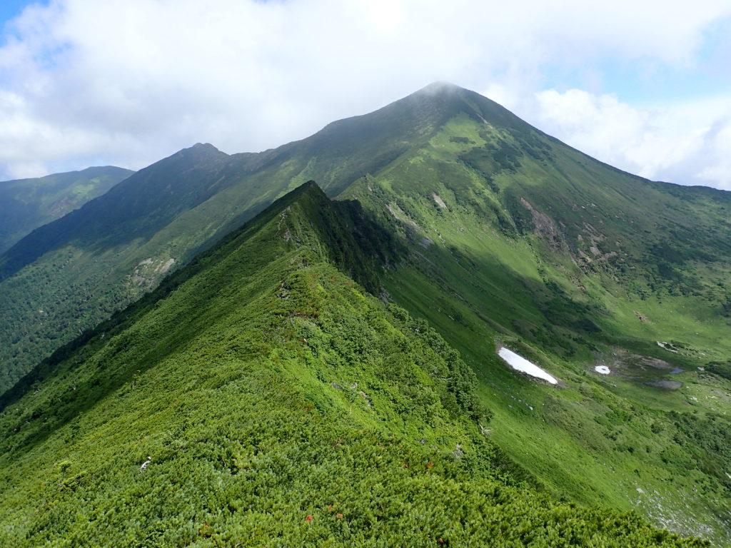 幌尻岳と戸蔦別岳の間の肩付近から見る戸蔦別岳