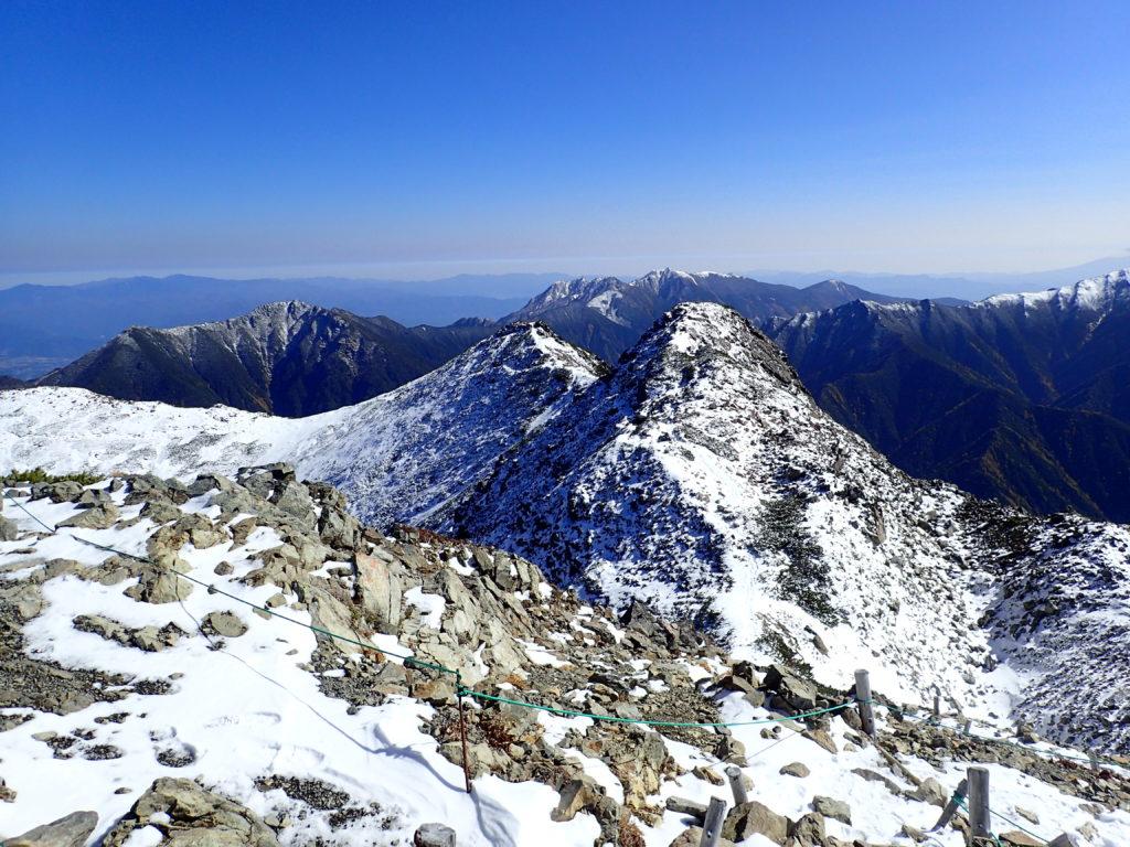 仙丈ヶ岳山頂からの景色
