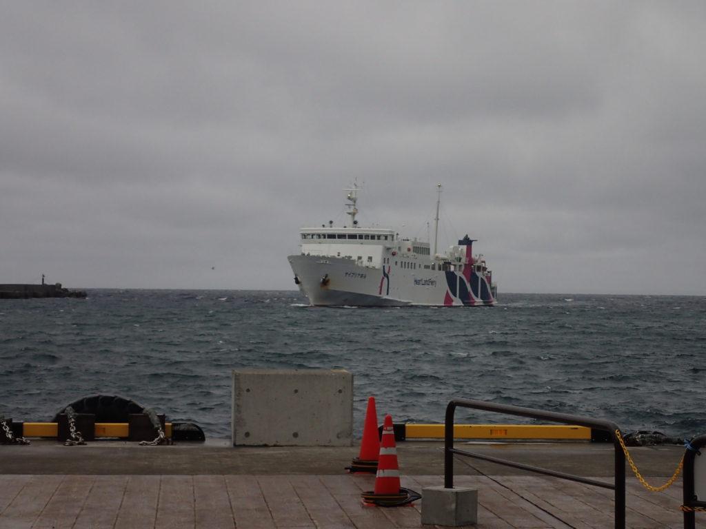 利尻島の鴛泊港から稚内港へ帰るときに乗ったフェリー(ボレアース宗谷)