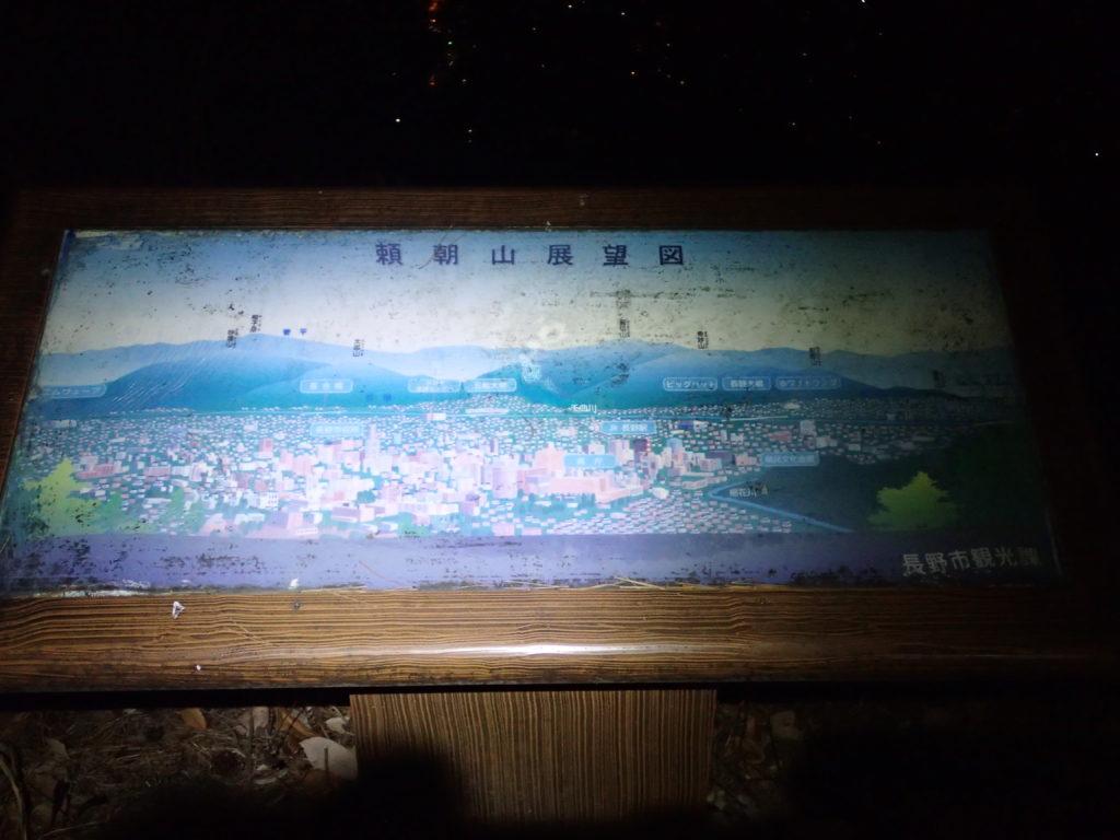 長野県長野市の頼朝山山頂の展望図