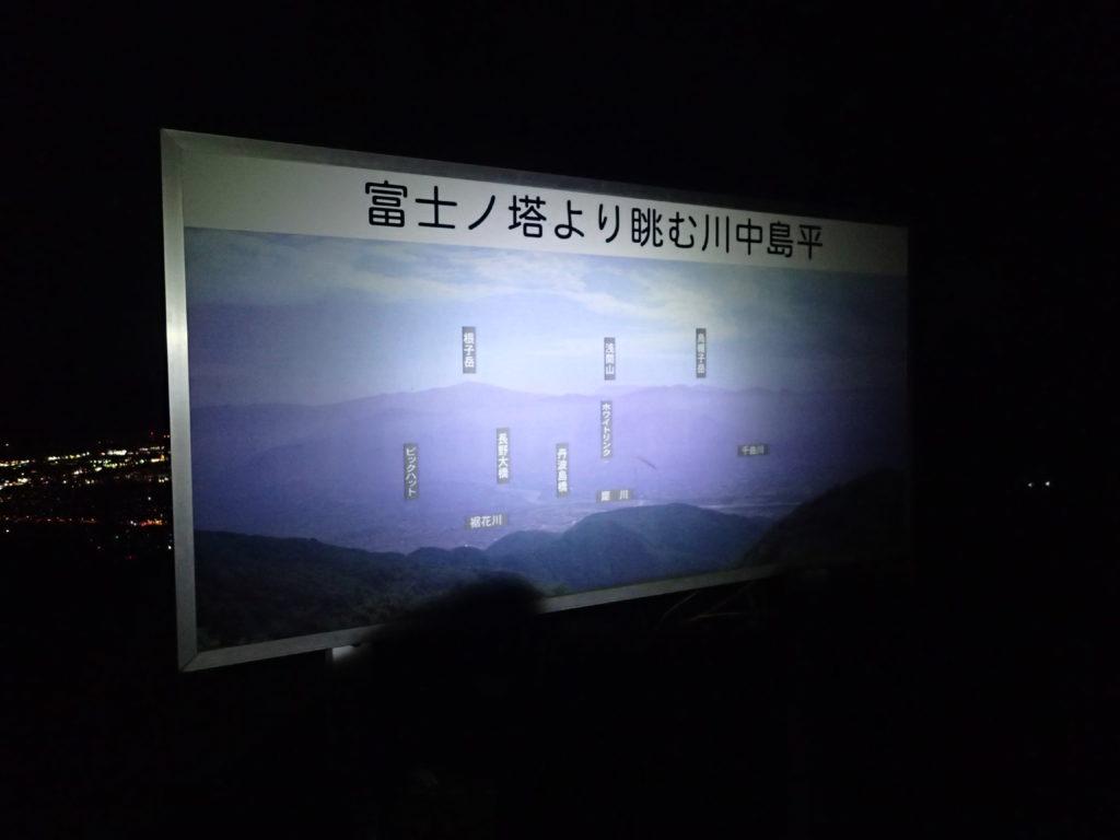 長野県長野市の富士ノ塔の山頂案内板