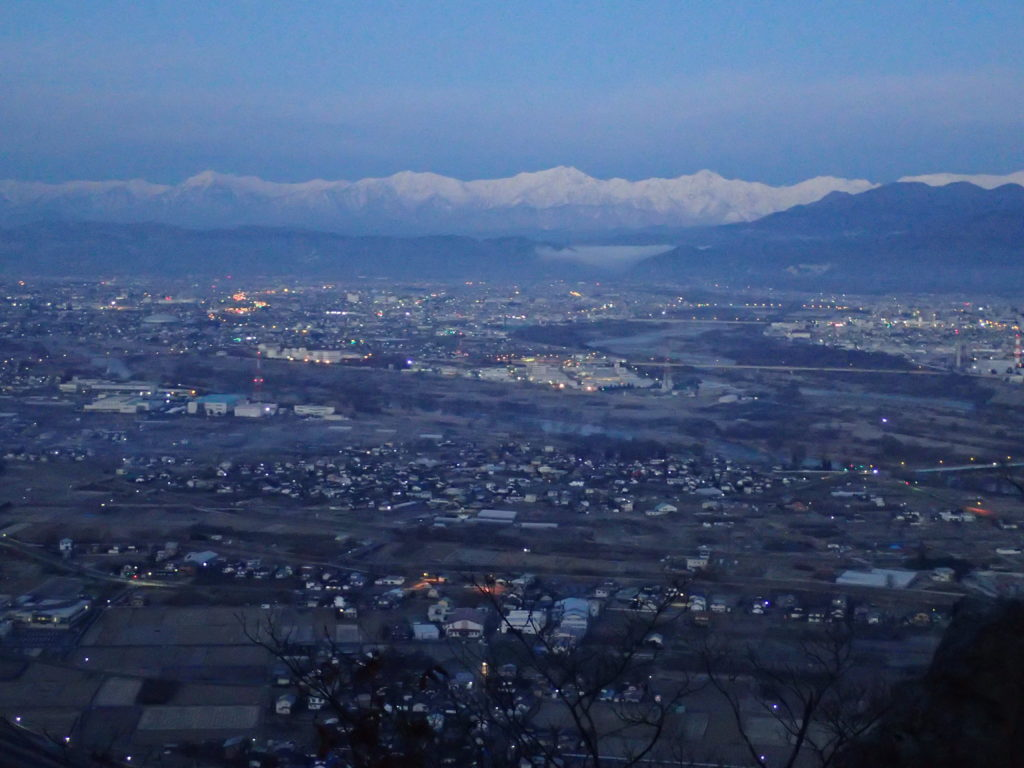 長野県長野市の太郎山登山道から見る北アルプス