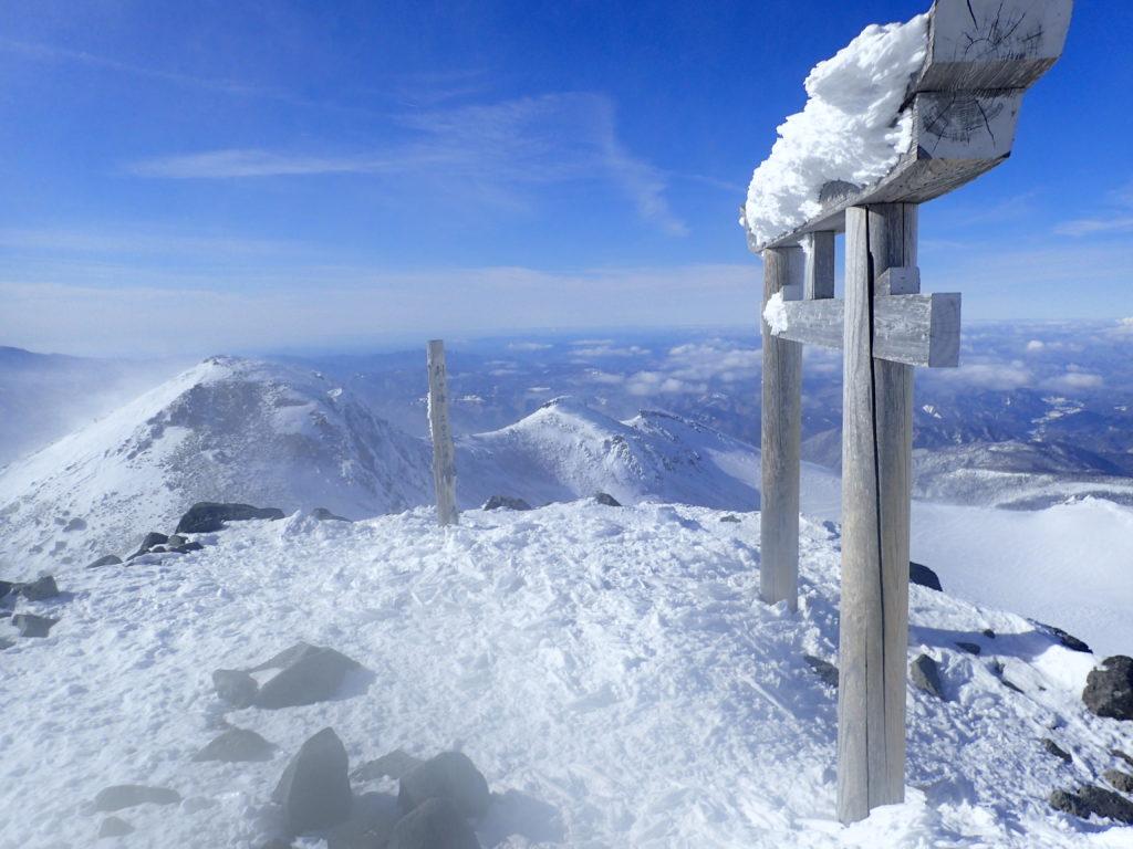 厳冬期の乗鞍岳剣ヶ峰山頂