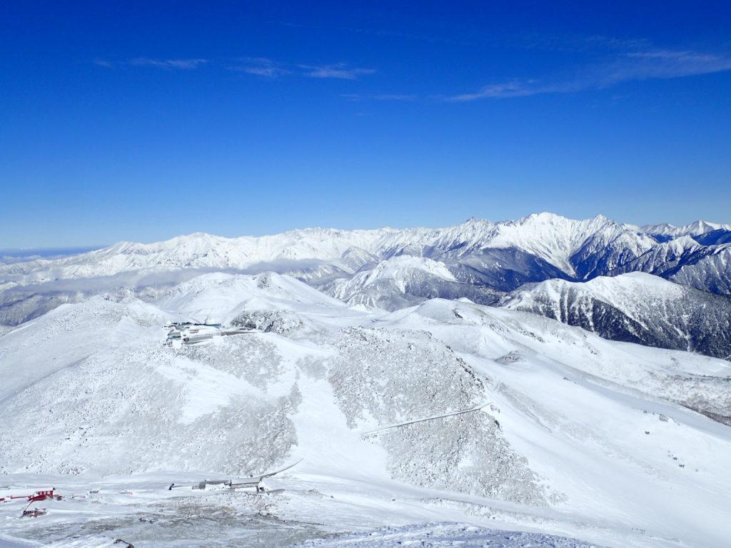 厳冬期の槍ヶ岳と穂高岳