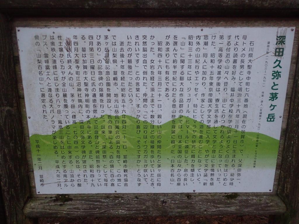 深田久弥と茅ヶ岳の説明
