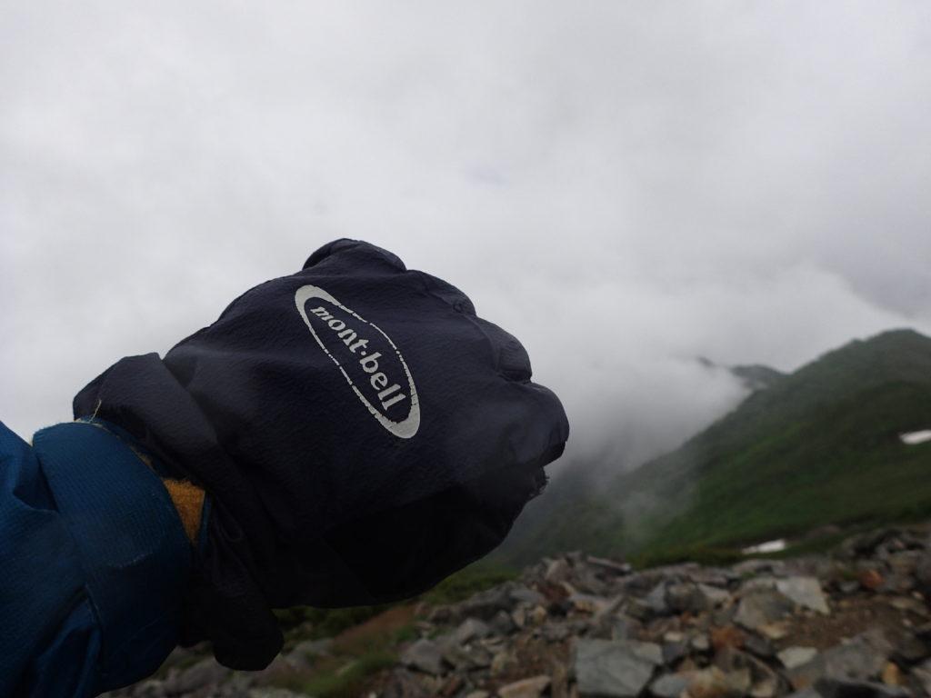 雨の爺ヶ岳でモンベルの登山用グローブであるサンダーパスグローブの記念撮影