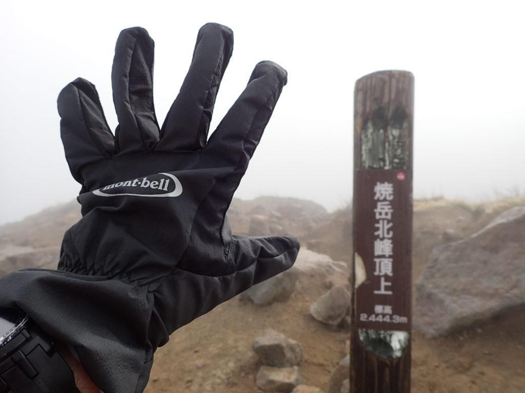 焼岳北峰山頂でモンベルの登山用グローブであるサンダーパスグローブの記念撮影