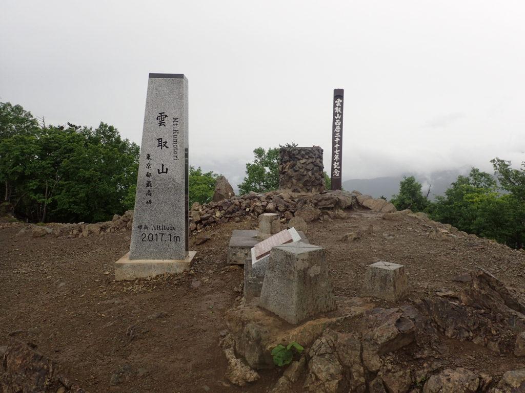 ひと夏での日本百名山全山日帰り登山で撮影した雲取山の山頂標