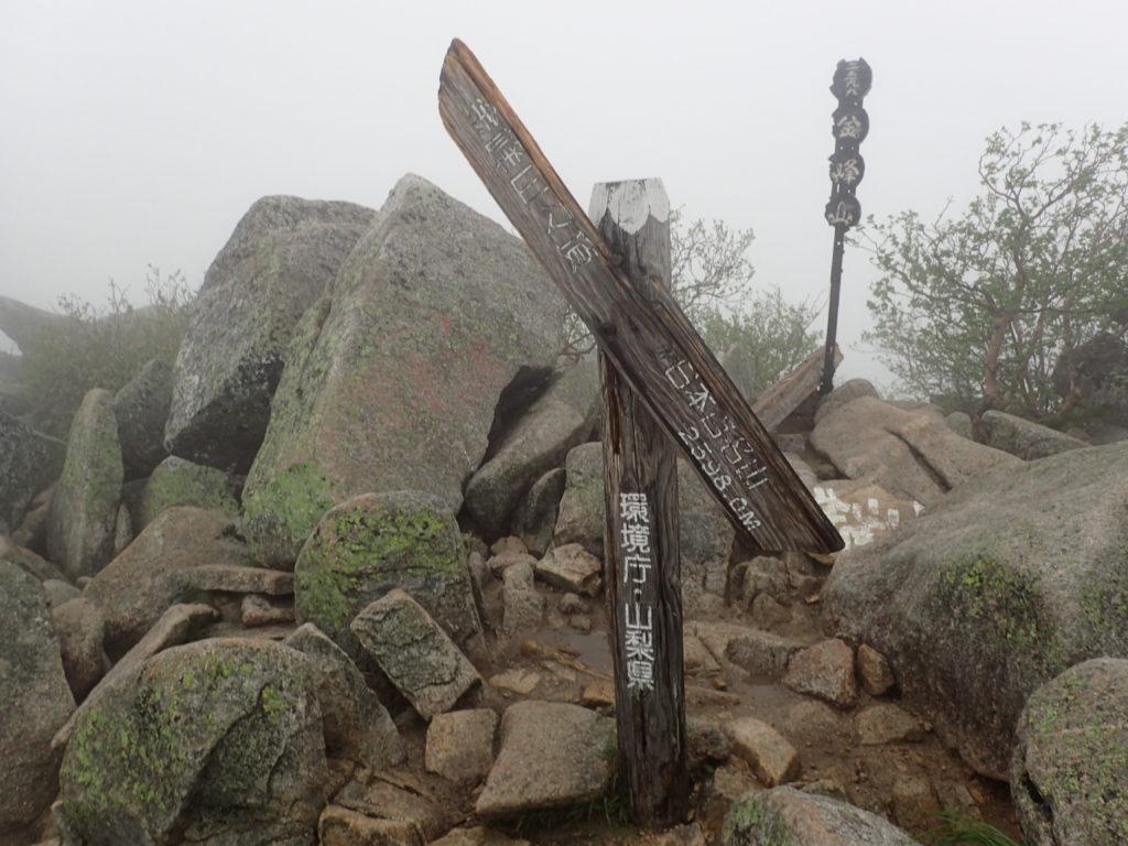 ひと夏での日本百名山全山日帰り登山で撮影した金峰山の山頂標