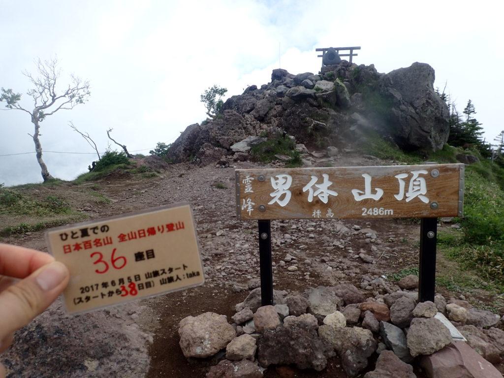 ひと夏での日本百名山全山日帰り登山で登った男体山の山頂で自作の登頂カードで記念写真