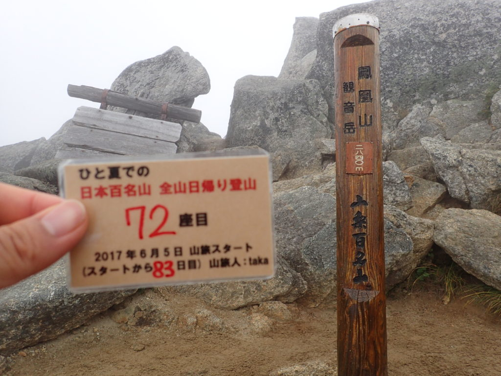 ひと夏での日本百名山全山日帰り登山で登った鳳凰山の観音岳山頂で自作の登頂カードで記念写真