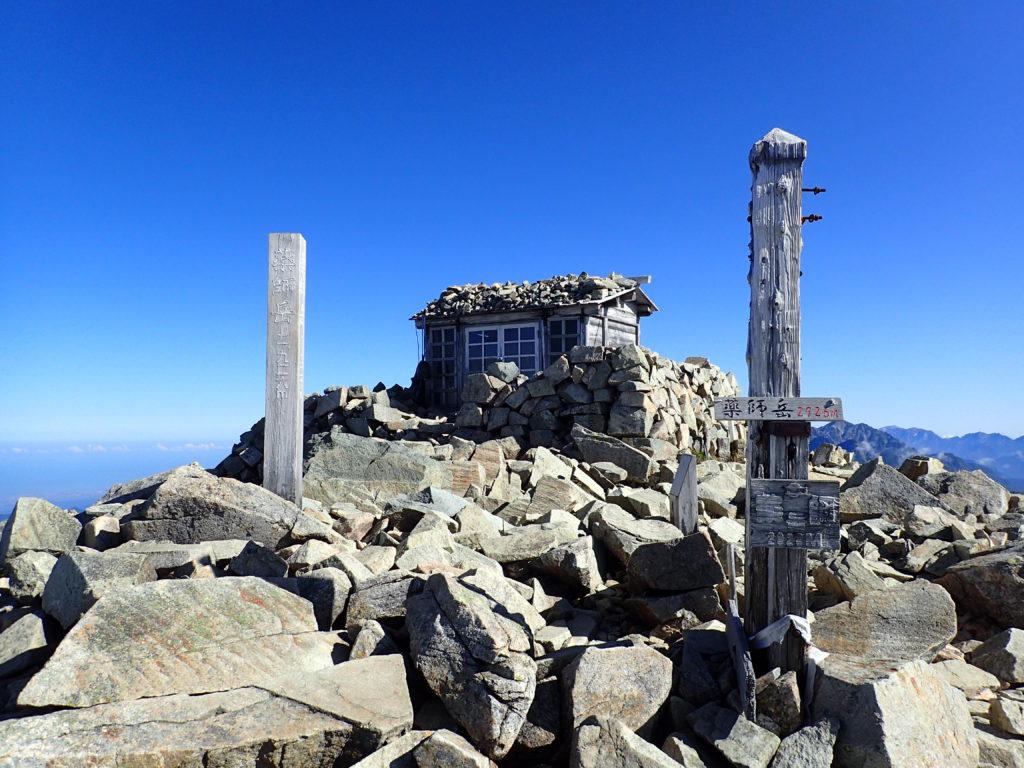 ひと夏での日本百名山全山日帰り登山で撮影した北アルプスの薬師岳の山頂標