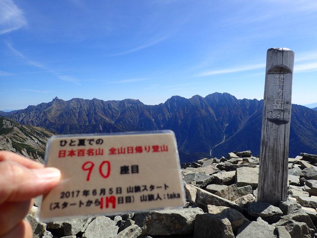 ひと夏での日本百名山全山日帰り登山で登った笠ヶ岳の山頂で自作の登頂カードで記念写真