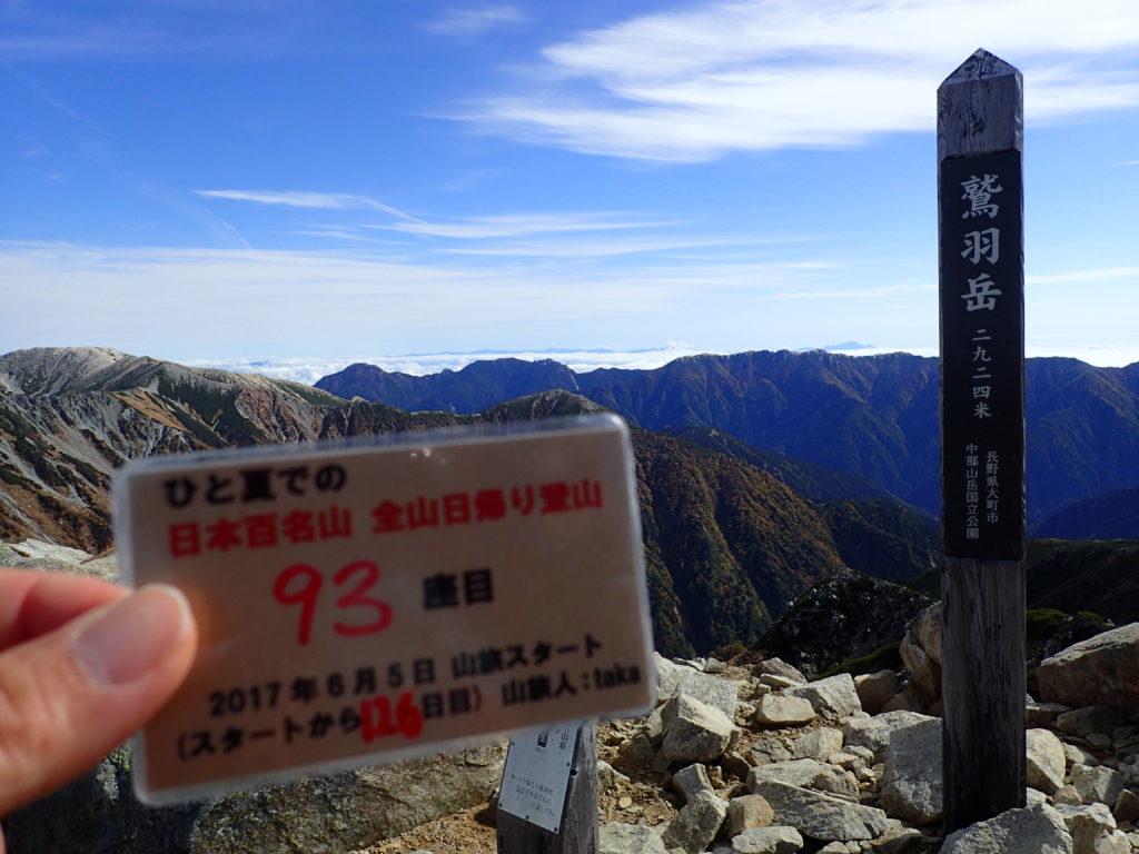 ひと夏での日本百名山全山日帰り登山で登った鷲羽岳の山頂で自作の登頂カードで記念写真
