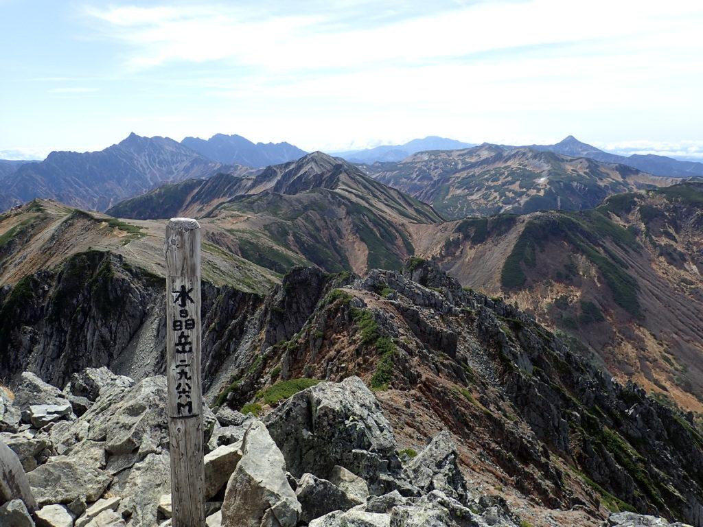 ひと夏での日本百名山全山日帰り登山で撮影した北アルプスの水晶岳の山頂標