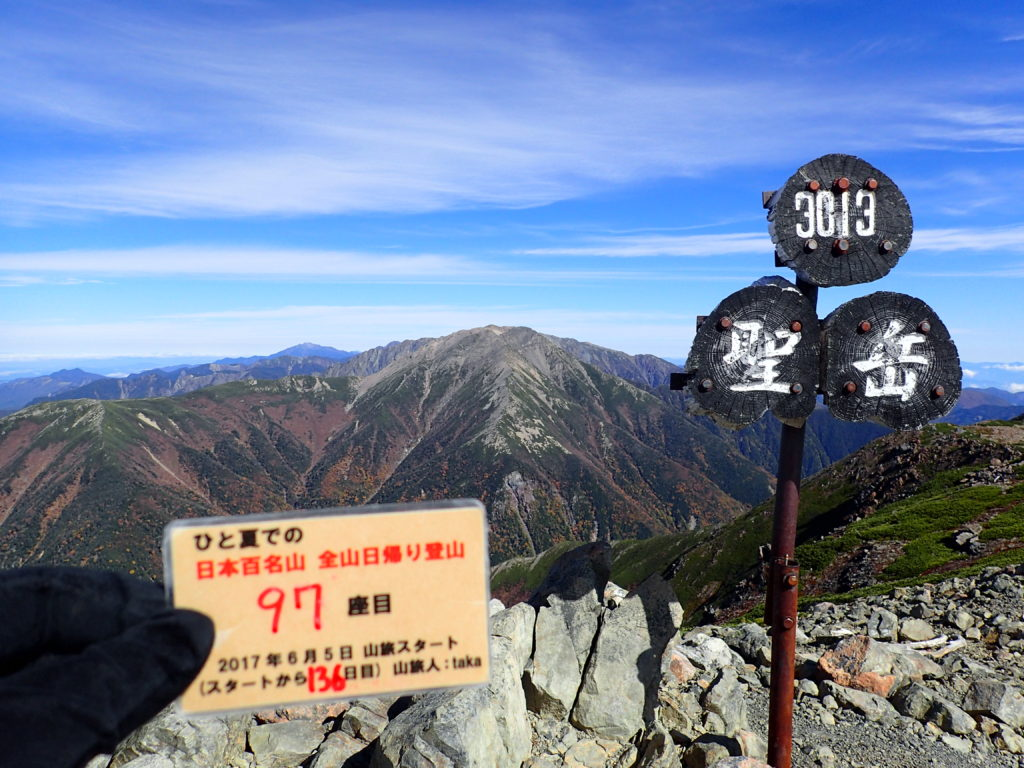 ひと夏での日本百名山全山日帰り登山で登った聖岳の山頂で自作の登頂カードで記念写真