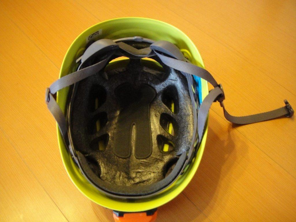 ペツルの登山用ヘルメットのエリオスの内側