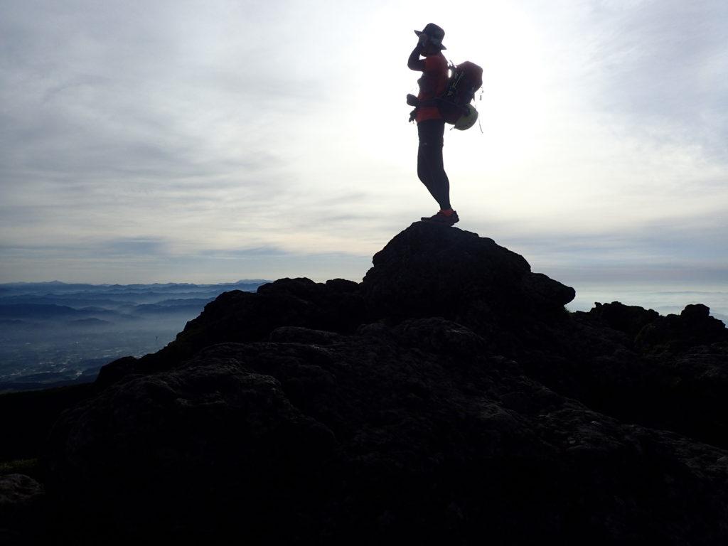 韓国岳山頂で自撮り