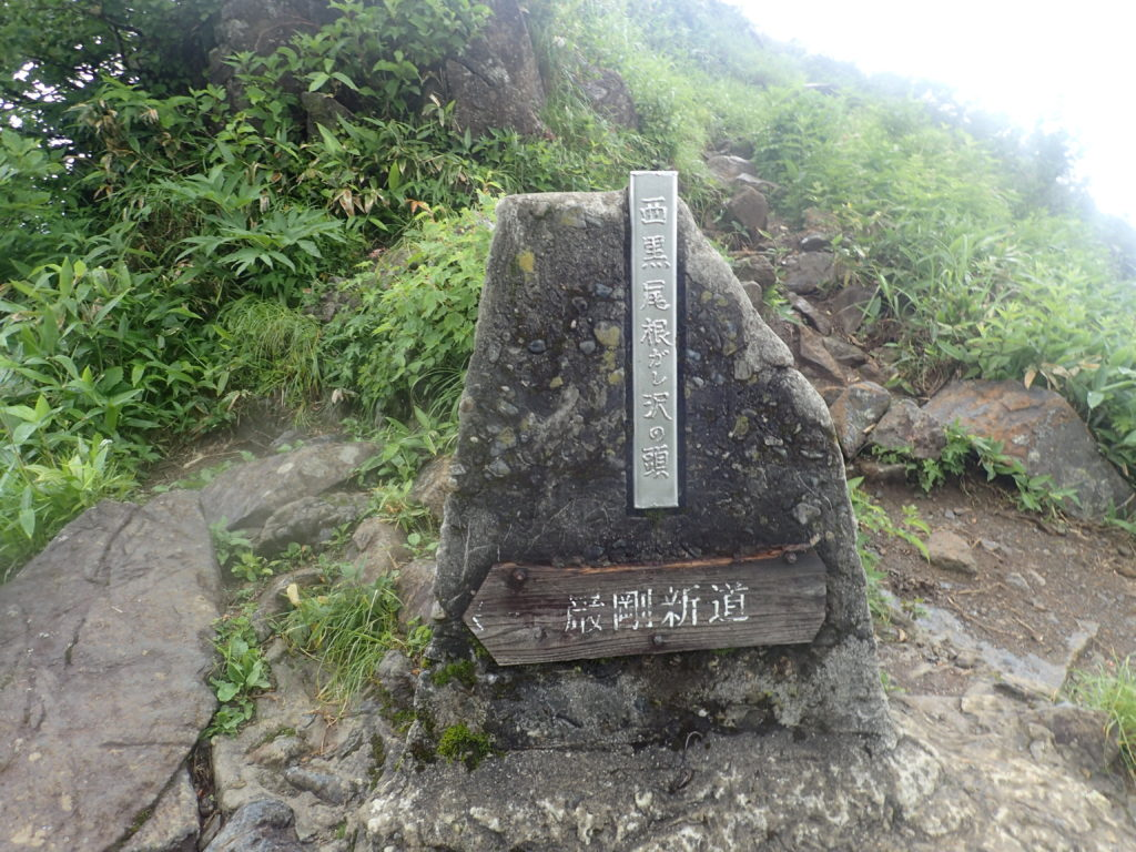 谷川岳の西黒尾根のガレ沢の頭