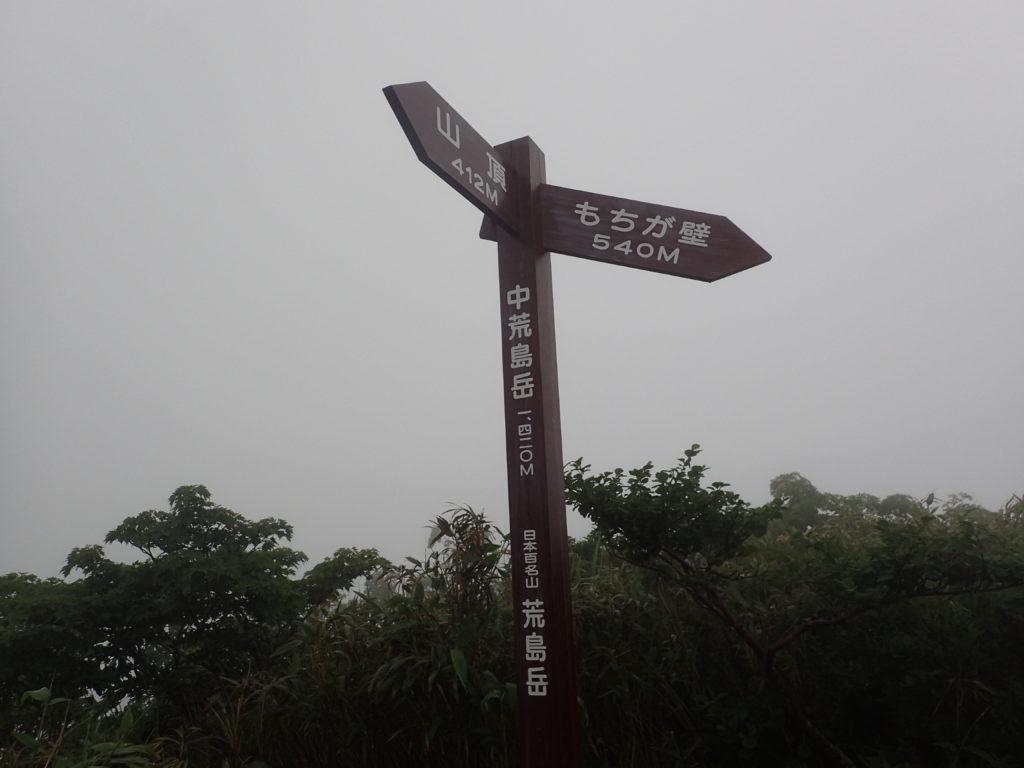 中荒島岳の分岐