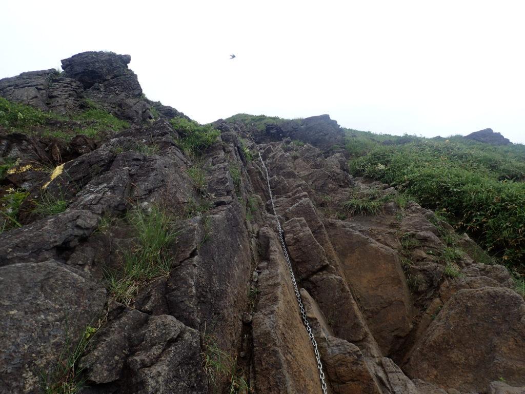 谷川岳の西黒尾根の鎖場