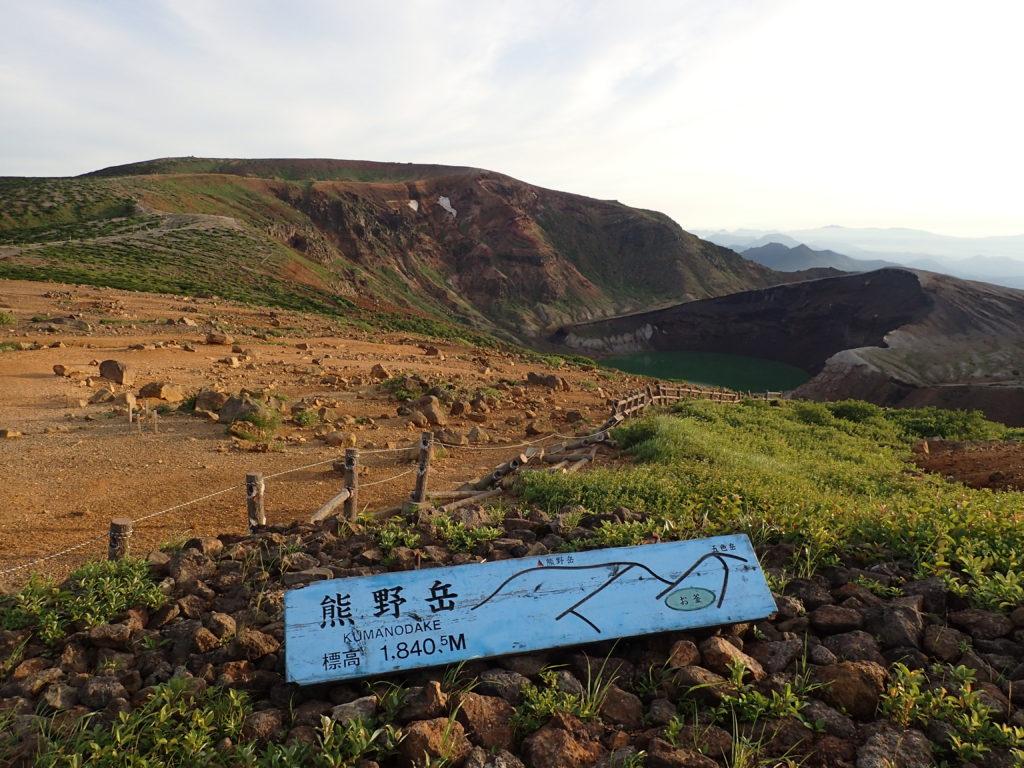 蔵王山の熊野岳の看板