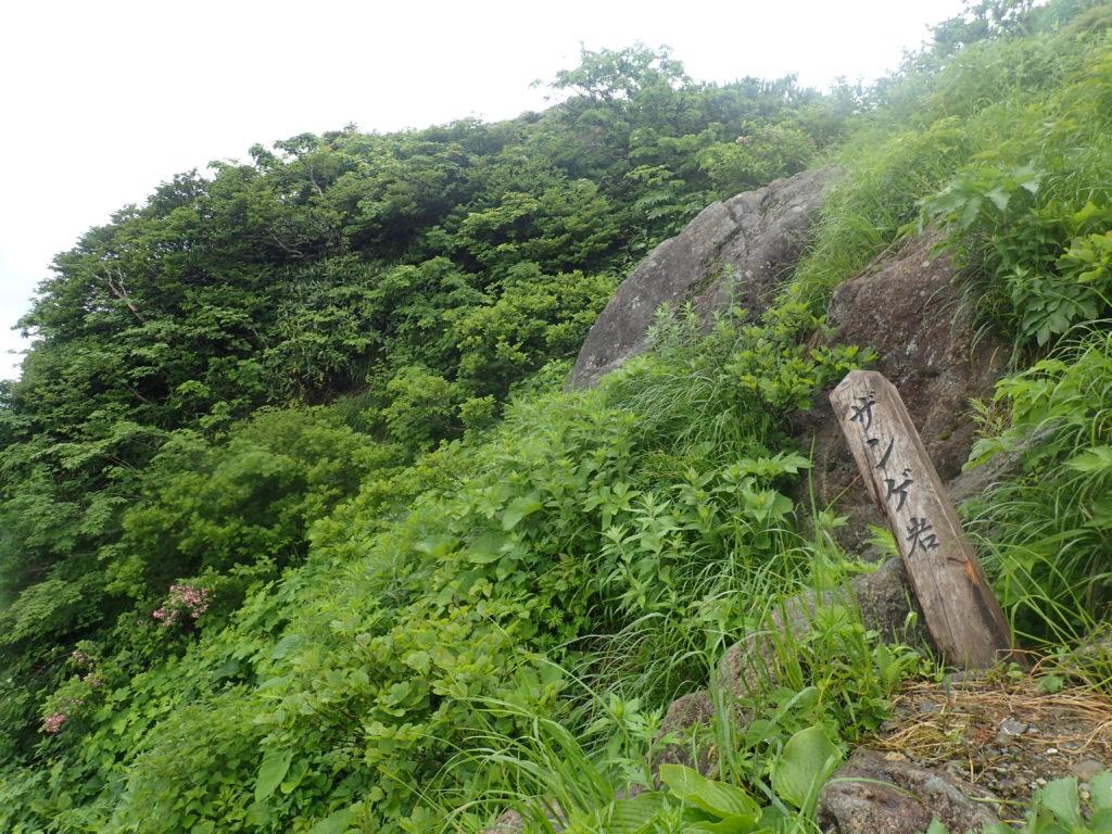 谷川岳の西黒尾根のザンゲ岩