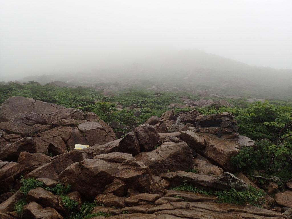 早池峰山の小田越コース登山道から見上げる山頂方面