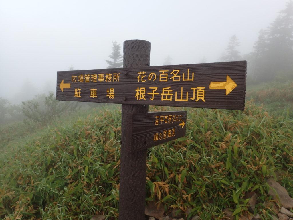 根子岳登山道の道標