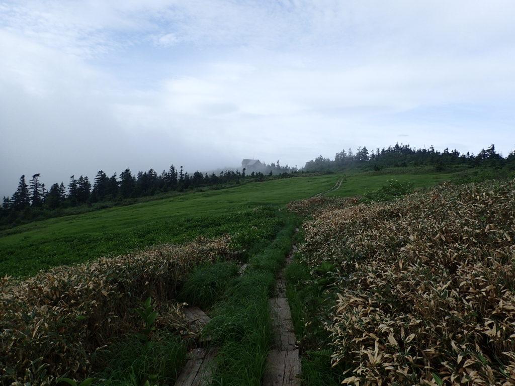 会津駒ヶ岳の木道と駒ノ小屋